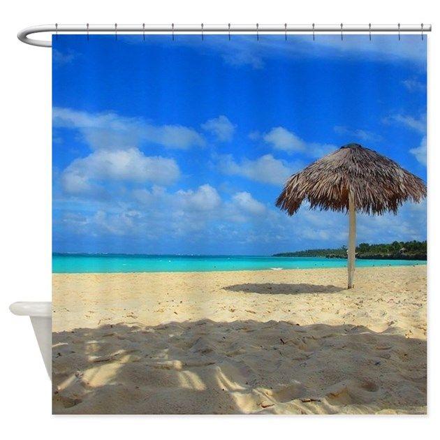 tropical, hut, white sand, beach, clouds, blue water, sea, ocean - shower curtain