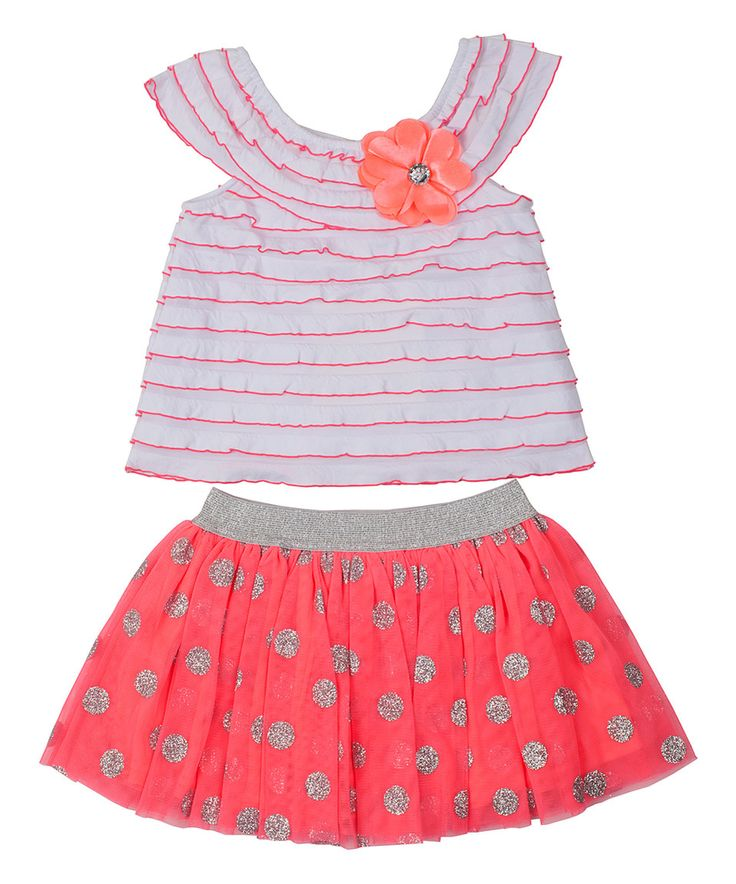Loving this Pink Ruffle Yoke Top & Polka Dot Skirt - Toddler & Girls on #zulily! #zulilyfinds