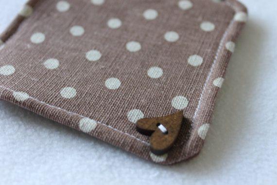 Fabric coasters set shabby chic natural polka dot by ManginDesign