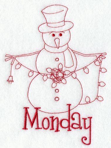 Snowman - Monday (Redwork)