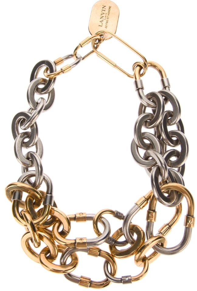 Lanvin Silver and Gold Chunky Necklace