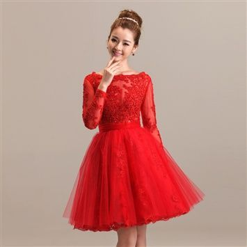 Awesome Short Red Dress Duolaxianni 2014 New Style Long Sleeve Short Red Lace Gown The Bride Toast Cloth... Check more at http://24shopping.cf/my-desires/short-red-dress-duolaxianni-2014-new-style-long-sleeve-short-red-lace-gown-the-bride-toast-cloth/