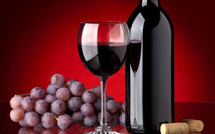 виноград, бокал, красное, вино, пробки, бутылка
