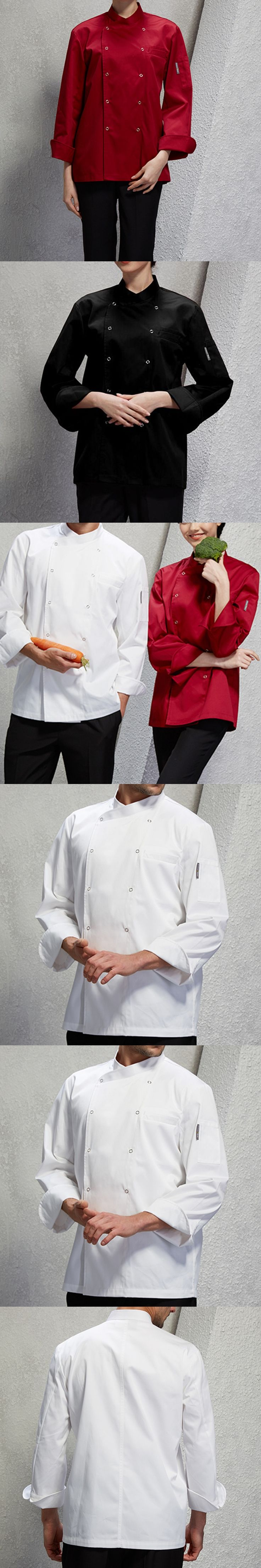 White Red Black Long Sleeve Shirt Barista Hotel Restaurant Diner Kitchen Chef Uniform Bistro Baker Bar Catering Work Wear D18