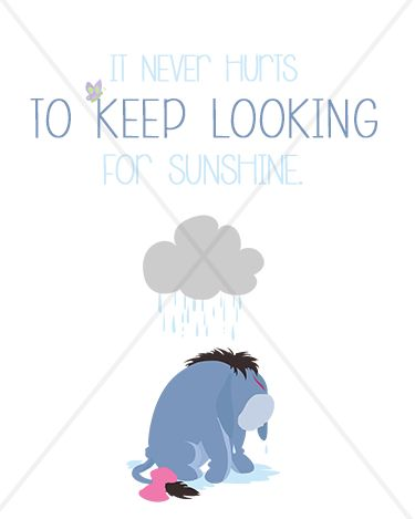 "A. A. Milne ""It never hurts to keep looking for sunshine."" Eeyore - 8x10 Instant Download Print Frame Wall Decor Printable DIY"