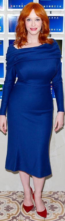 Who made Christina Hendricks' blue long sleeve dress and red suede pumps?
