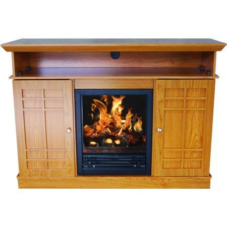 D;cor Flame Bailey 48 inch Media Fireplace, for TVs up to 55 inch, Honey Oak