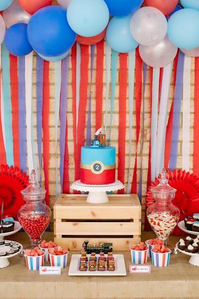 Retro Railroad Birthday Party Birthday Parties 2nd Birthday Party Themes Trains Birthday Party