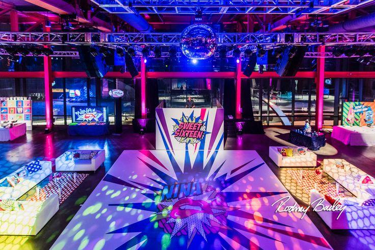 Custom Dance Floor | Pop Art Party | Sweet Sixteen | Birthday Party | Colorful | Steel Stacks | Pennsylvania | Rodney Bailey Photojournalism | Magnolia Bluebird design & events | Washington D.C.