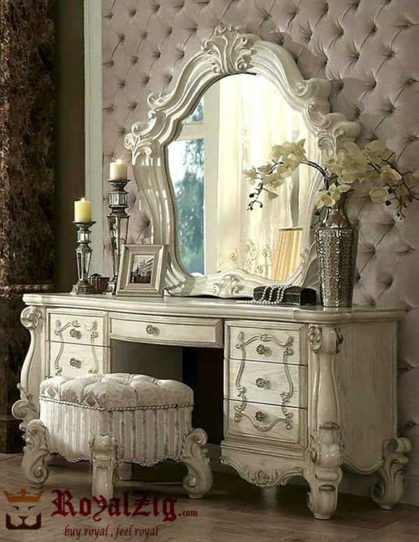 Luxury Hand Carved Dressing Table With Mirror Shabby Chic Bedrooms Shabby Chic Decor Chic Furniture
