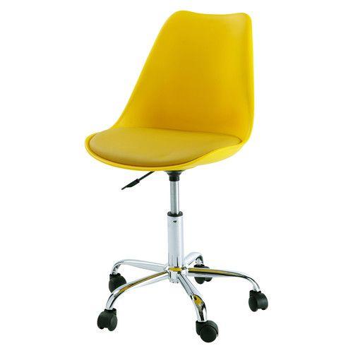Schreibtischstuhl auf Rollen, gelb