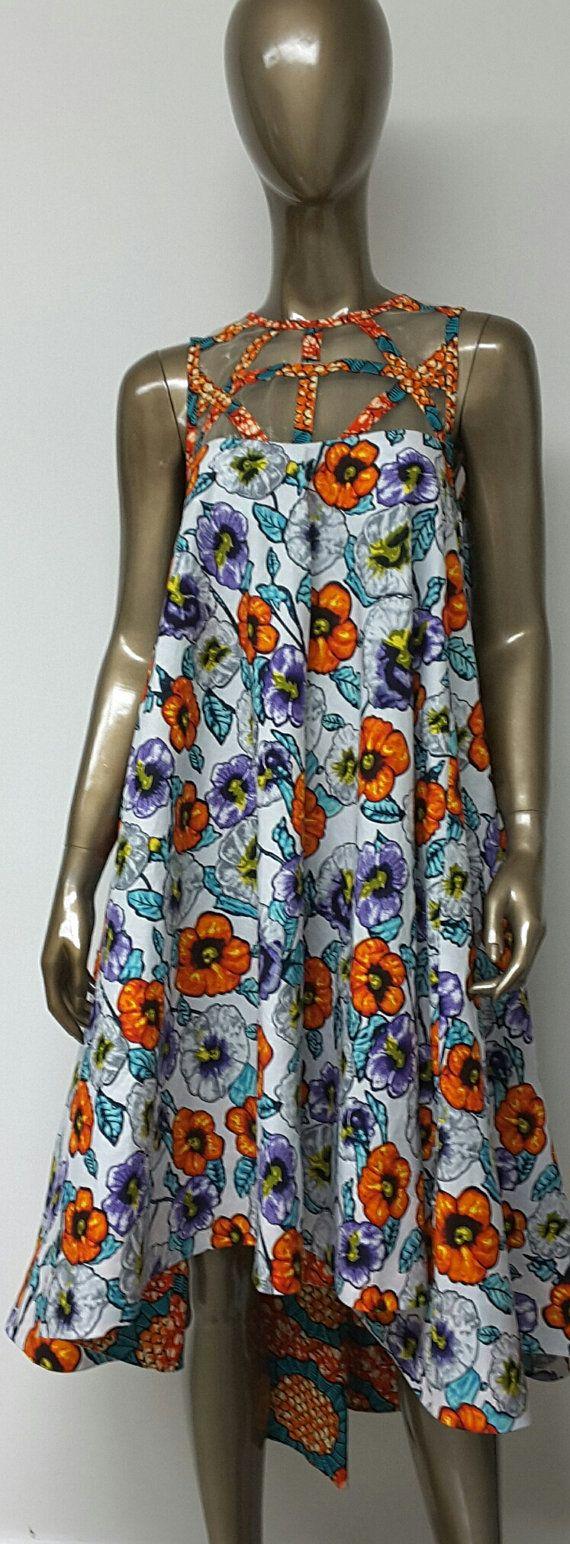 African Print Summer Flare Hi-Lo Dress. Woven Yoke. Low back. Inside Pockets…