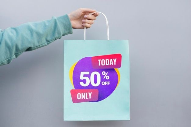 Download Download Front View Paper Bag With Sales For Free Free Psd Paper Bag Freepik