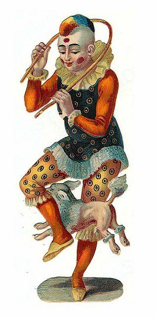 Bichon Circus Dog and Clown.. vintage emphemera