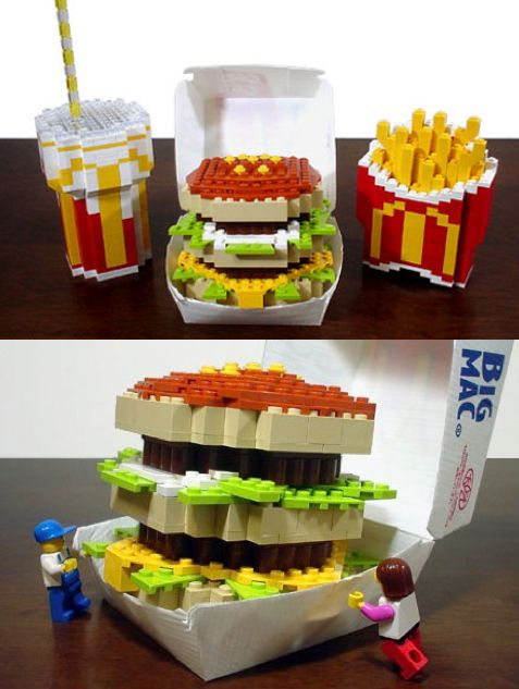 McDonald's Big Mac Meal created in LEGO's by the Japanese LEGO artist Sachiko at lets-brick.com                                                                                                                                                     More