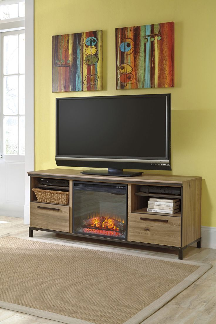 large tv stand w fireplace option ashley home gallery stores trend built in fireplaces. Black Bedroom Furniture Sets. Home Design Ideas