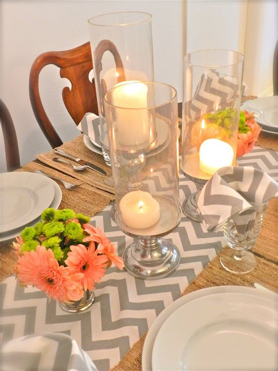 GRAY TABLE RUNNER 13 X 72 Gray Chevron Table Runners Silver Wedding Showers  Decorative Grey Holiday