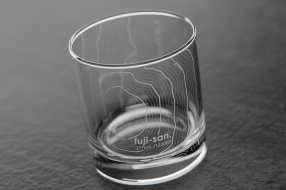Mt Fuji Topographic Map Glass