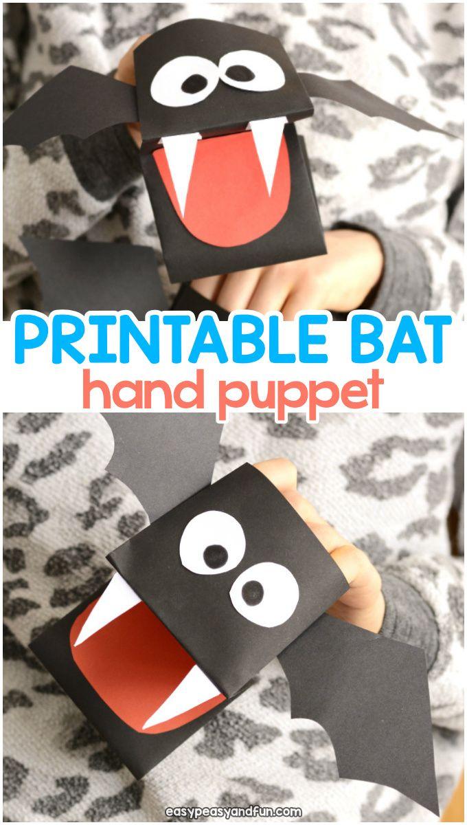 Bat Puppet Printable Template Slp Language Lessons Pinterest