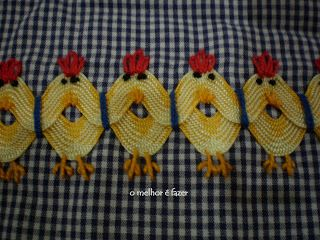 Double row of overlapping ric rac embroidered to form chickens.