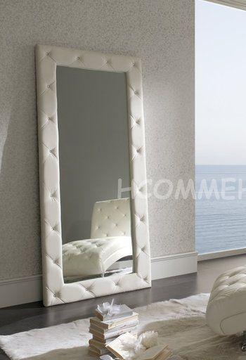 miroir de salle manger design en simili cuir strass sabino coloris blanc - Miroir Mural Blanc Simili Cuir Strass