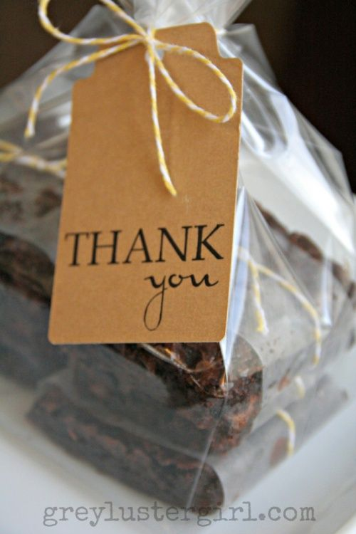 Wrap brownies in wax paper and twine to fancy them up. greylustergirl.com