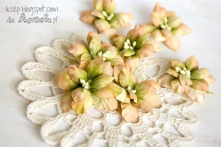 Witajcie :)   Dzisiaj chciałam Wam pokazać sposób na wykonanie pięknych dwukolorowych hortensji.  Kwiatki wycięłam z kremowego papieru czer...