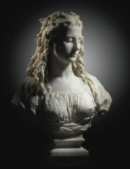"""Jean-Baptiste Carpeaux (1827-1875) bust La Candeur (""""Candor"""") marble"""