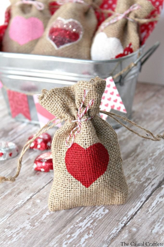 """""""This craft project was so quick and easy!  I absolutely love projects like this one.  It took no time at all to make these cute heart DIY Valentine's Day burlap  gift bags."""" by The Casual Craftlete"""