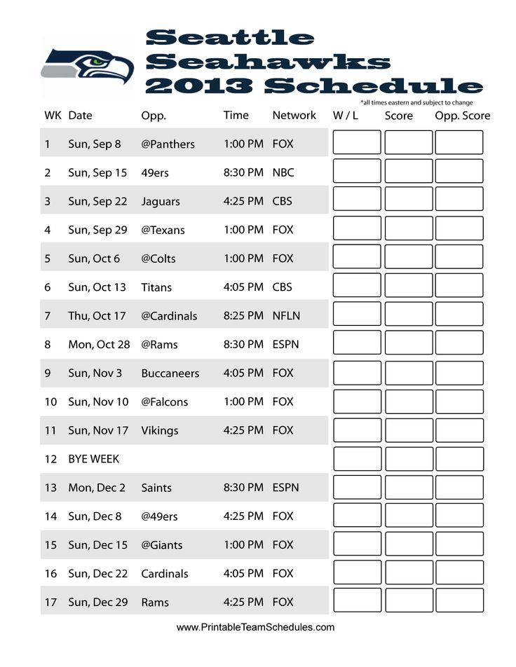 seahawks schedule 2013 | Printable Seattle Seahawks Schedule 2013 - Printer Friendly