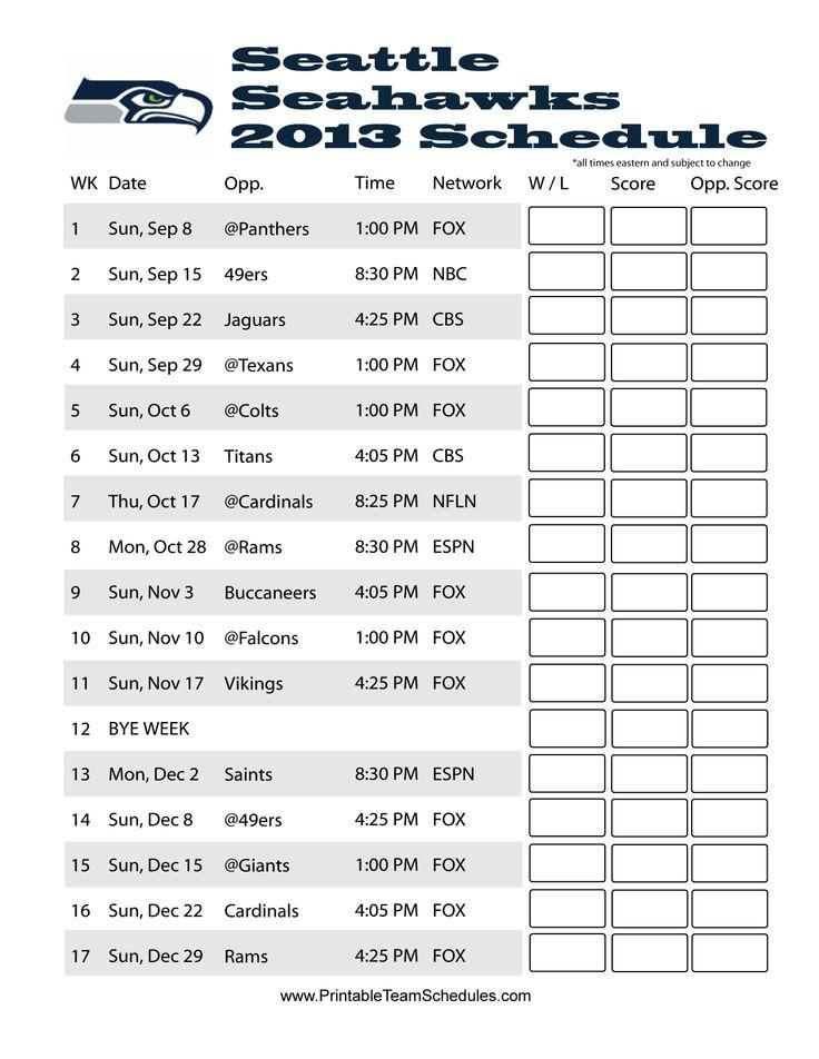 seahawks schedule 2013 | Printable Seattle Seahawks Schedule 2013 - Printer Friendly