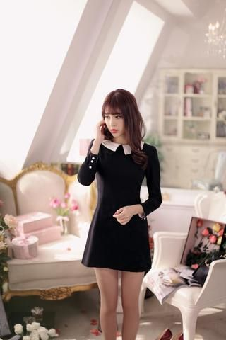 Japanese style - black pearl clasp ladies temperament was thin dress - AddOneClothing - 1
