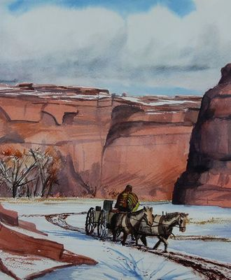 $850 In a Wagon Riding Through the Snow, Paintings by Robert Draper