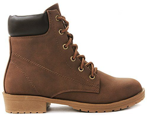 "JJF Shoes Bade Brown Combat Military Nubuck Lace Up High Top Ankle Boots-9. Fitment: Runs larger, the manufacturer recommends ordering half a size to one size smaller than your normal size. Features: Round toe, premium faux nubuck upper, lace up front with sturdy metal grommets, stitching details, and cushioned collar. Completed with soft interior lining, cushioned insole and non-skid rubber sole for comfort wear. Heel 1.25"", Shaft w/o Heel 5.5"", Top Opening Circumference 8.5""( Measurements…"