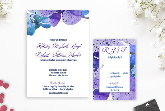 Dendrobium Orchid Wedding Invitation Blue Orchid by AldaleDesign