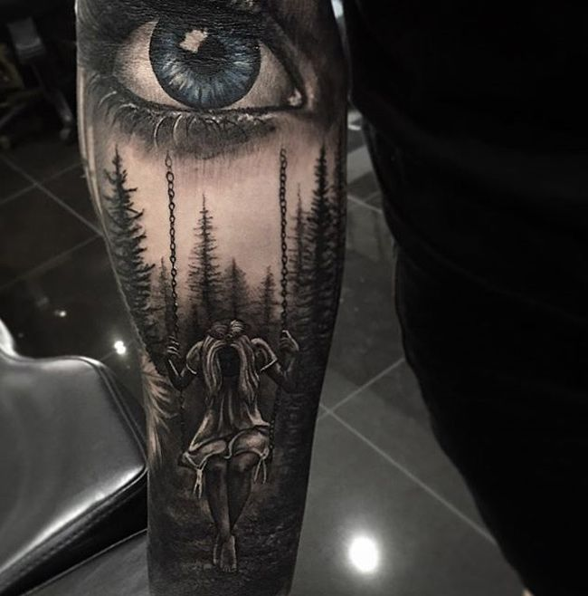 Girl on Swing, Trees and Realistic Eye | Best tattoo ideas & designs