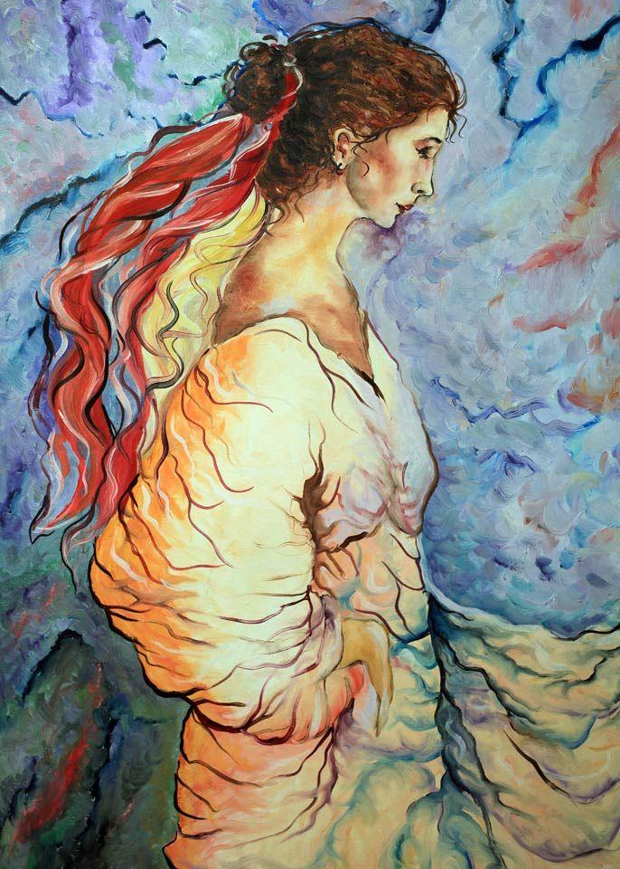 Γυναίκα σε μπλε φόντο