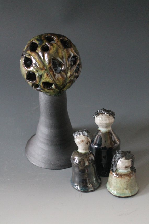 Ceramic family with a tree  tealight candle holder by HagenClay