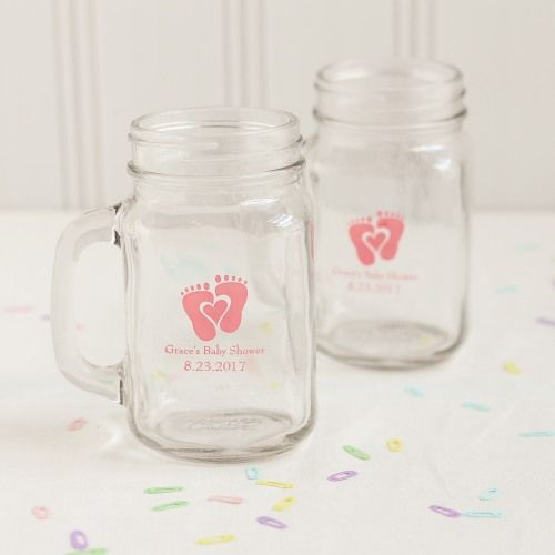 """Personalized printed mason jar mugs will bring a smile to your shower guests' """"mugs"""" in no time!"""