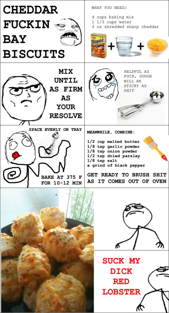 How to make Red Lobster Cheddar Bay Biscuits - Instructions from Reddit via Rage Meme.