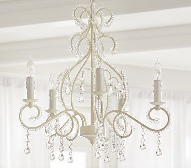 Chandelier Baby Room: Because every little girl needs a fabulous chandelier. White Lydia  Chandelier Pottery Barn Kids · Baby Girl Nursery ...,Lighting