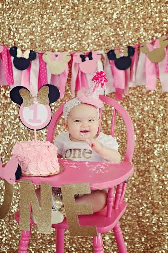 Minnie Mouse Pink and Gold Cake Topper by SweetSisterCelebrate