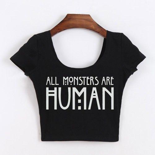 Tumblr ropa todo Monsters son humano recortada Tops manga corta camisa corta para mujeres divertidas blanco / negro