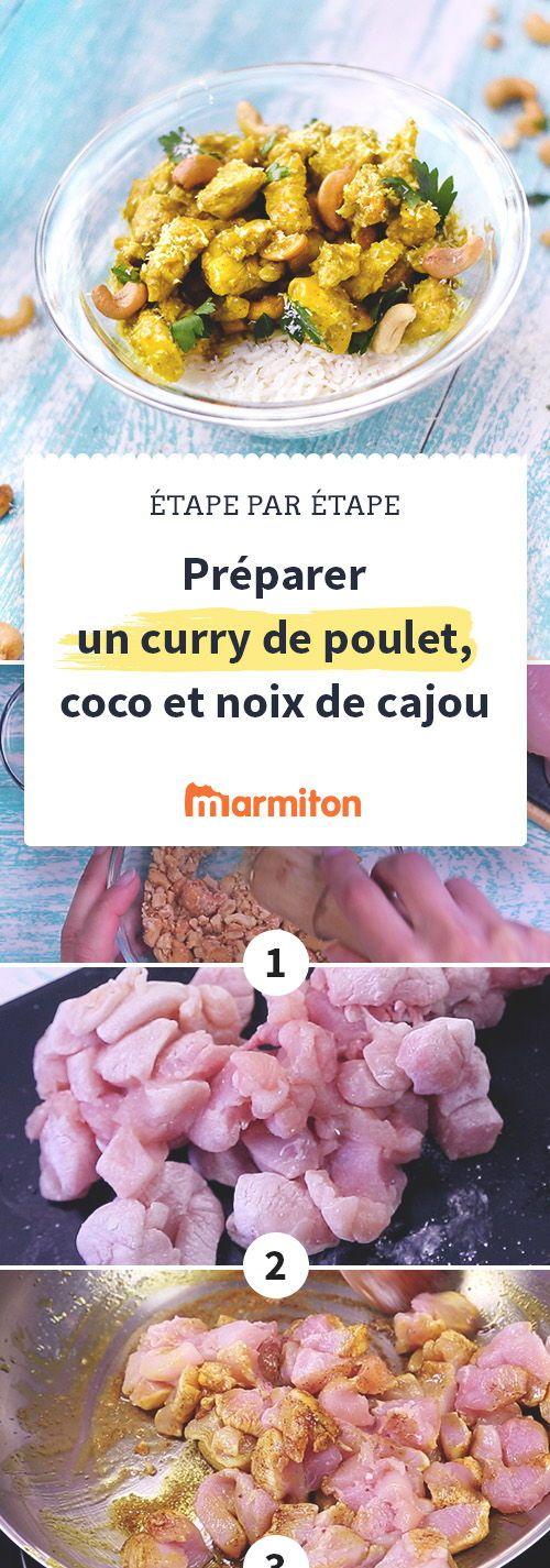 Poulet au curry, au lait de coco et aux noix de cajou : une recette exotique et originale facile à réaliser en suivant notre pas à pas photo. #recette #marmiton #curry #inde #coco #poulet #cuisine #cajou