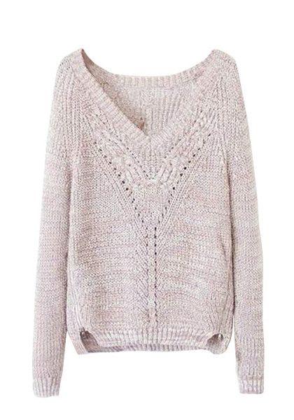 Size-Zip V-Neck Sweater - Features V Neckline Sweater