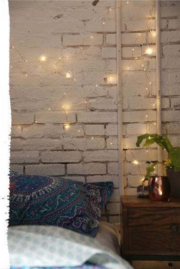 43 Ideas fot Styling Your House With White Brick Walls  Fairylights  BedroomBedroom Fairy LightsLight. Best 25  String lights bedroom ideas on Pinterest   String lights