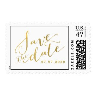 Gold Script Save the Date Wedding Postage Stamps
