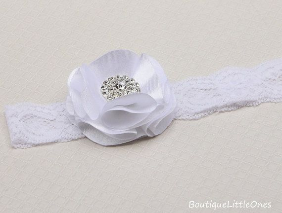 Christening Headband White Baptism Headband by BoutiqueLittleOnes