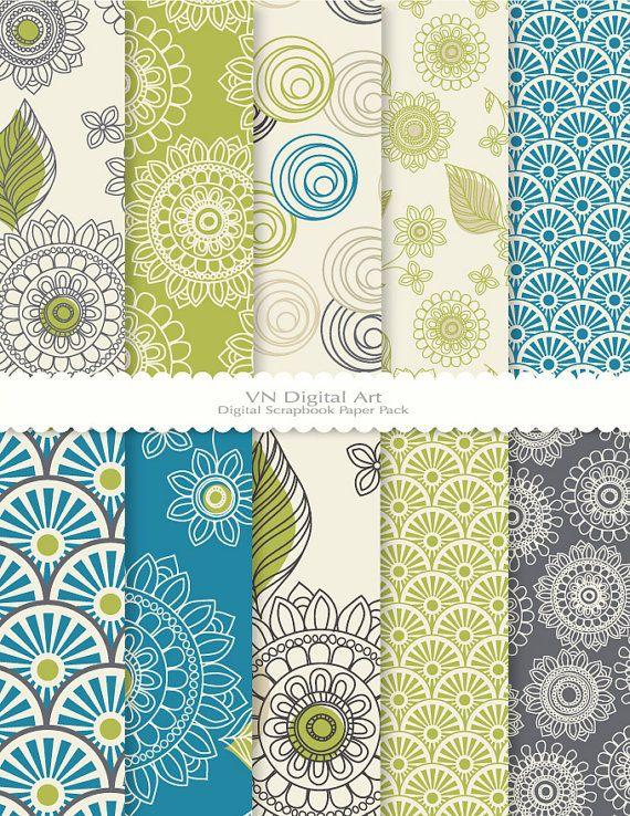 """Doodle Flower Digital Scrapbook Paper Pack (8.5x11""""-300 dpi) -- 10 Digital papers -- 355. $3.00, via Etsy."""