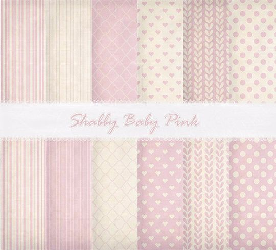 Shabby Chic Baby Pink Digital Paper-Baby Girl Digital